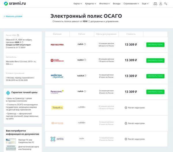 Завершение расчета ОСАГО в Сравни.ру